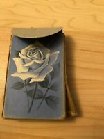Vintage Russell Arden Deck of Playing Cards with Box Blue Floral Rose USA