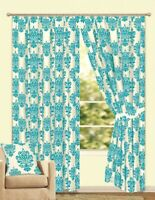 TEAL CREAM LICHFIELD DAMASK FLOCK TAPE TOP LINED CURTAINS TIE BACKS 46x54 INCHES