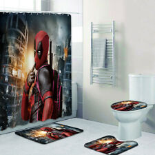 Deadpool Bathroom Rug Shower Curtain 4PCS Non-Slip Foot Mat Toilet Lid Cover Mat