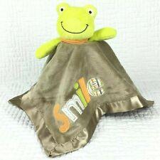 Carters FROG Smile Security Blanket Rattle Lovey Plush Tan Green Orange Satin