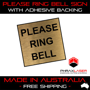 PLEASE RING BELL - GOLD SIGN - SQUARE - LABEL - PLAQUE with Adhesive 40mm x 40mm