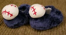 Gerber 0-6 Month Fuzzy Furry Blue Infant Baby Baseball Slipper Booties Slippers