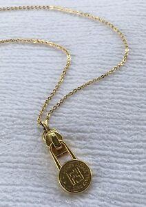 "Authentic Vtg Upcycled Fendi Gold Tone Zipper Pull Charm Pendant Necklace 15"""
