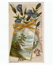 Antique Trade Card New Home Sewing Machine Orange Mass Dwelley & Co Bangor Maine