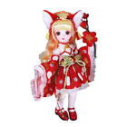 30cm 1/6 BJD Doll Mini Girl with Red Clothes Dress Full Set Makeup Birthday Gift