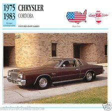 CHRYSLER CORDOBA 1975 1983 CAR VOITURE USA ETATS-UNIS CARTE CARD FICHE