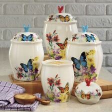 4 PC Butterfly Glazed Ceramic Canisters Set. New.