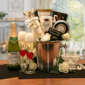 Romantic Evening for Two Valentine/Wedding Gift Basket/Champagne Bucket/Snacks