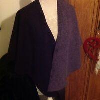 M&S Per Una Wool Mix Purple/Mauve Easywear Useful Cape.Size 10 - 16. Nice Gift