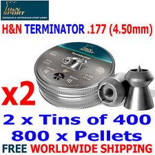 H&N TERMINATOR .177 4.50mm Airgun Pellets 2(tins)x400pcs HUNTING PERFORMANCE