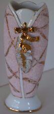 Vintage Lefton Bud Vase Pink Gold Bumpy