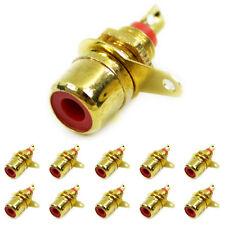 10 Stk. Cinch Einbaukupplung vergoldet Rot / Buchse zum Löten Audiokupplung 3004