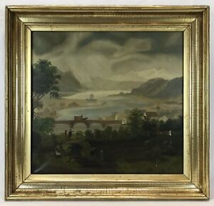 Antique Mid 19th C Oil Painting Landscape Stenciled Lemon Gold Gilt Frame
