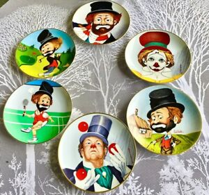 Red Skeleton Fairmont China QP Golf Clown Plate Set of 6 Collectible Plates