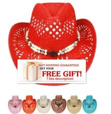 COWBOY Western HAT Cap Cowgirl Raffia Rodeo Cap MEN WOMEN VALENTINES GIFT