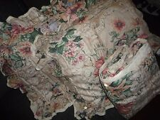 TUSCAN STYLE FLORAL PINK GREEN MELON FLORAL RUFFLED (3PC) FULL DUVET SET