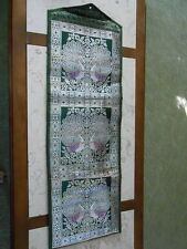 Letter Organizer Wall Hanger Green w/ Purple Oriental  Peacock Fabric