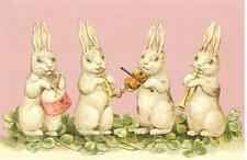 Antique Style Post Card Easter Bunny Bunny's White Rabbit Rabbits Clover