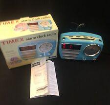 Timex Retro Chrome Radio Alarm Clock Aqua Blue Works With Original Box