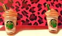 NWT White Enamel Starbucks Coffee Betsey Johnson Women Stand Earrings