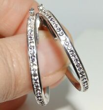 925 STERLING SILVER CREOLE SIMULATED ROUND CUT DIAMOND 30mm HOOP  EARRINGS