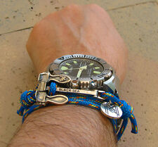 925 Sterling Silver Stockless Heavy Anchor on Blue Paracord Bracelet & Necklace