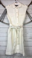 Banana Republic Womens Eyelet Tie Waist Sleeveless Cotton Shirt Dress Lined Sz 4