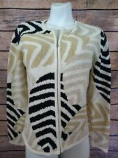 Talbots Cardigan Sweater Zipper Front Size Medium White Tan Black Long Sleeve
