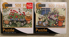 Lang 2 PACK Jigsaw Puzzles 500 Piece NEW Garden Wagon & Watering Can