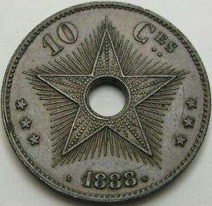 CONGO 10 Centimes 1888 - Copper - XF+ - 1949 ¤