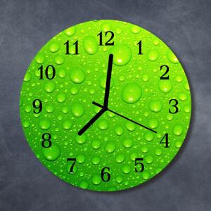 Tulup Reloj de pared de cristal cocina silencioso redondo 30 cm Gotas Naturaleza