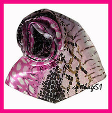 Etole  écharpe foulard en 100 % SOIE  -  Marron  rose fushia noir
