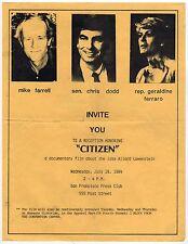 ALLARD LOWENSTEIN Film Citizen BROADSIDE Geraldine Ferraro CHRIS DODD Farrell