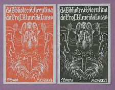 2 ex-Libris 1946 Prof. Almeida Lucas par Moura Vintage