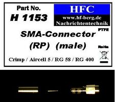 1 Stück SMA-Stecker RP (Crimp) für Aircell 5 / RG 58 Koaxkabel 50 Ω (H1153)