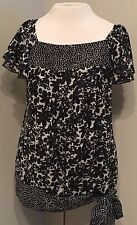 Apt 9 Women's Size Medium Black Ivory Ruffle Top Floral Side Tie