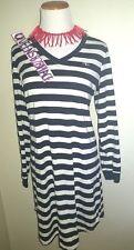 Ralph Lauren Womens Medium M Navy beige striped Night gown sleep shirt Logo EEUC