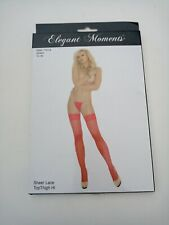 Elegant Moments Plus Size 1x- 3x Plus Red Lace Top Thigh Hi  Stockings