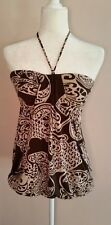 CDR Women's Tube Top Shirt Brown Size Small Ties around neck
