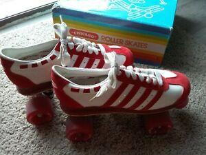 Vintage Chicago Roadster Roller Skates Size 6 Men's/ 8 Women's Red & White