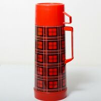Vintage 1970's Red & Black Plaid Aladdin Retro 1 Quart Thermos Coffee Container