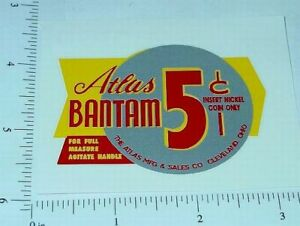 Atlas Bantam Yel/Sil 5 Cent Vend Sticker V-33