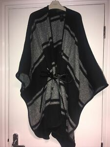 Next Black/grey Shawl Wrap Poncho Cape With Faux Leather Belt One Size Fits All