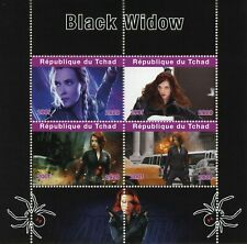 Chad Superheroes Stamps 2020 MNH Black Widow Marvel Scarlett Johansson 4v M/S