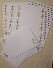 White Flowers letter writing paper & envelopes stationery  - Cute set