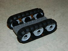 LEGO 2 x Black Rubber Caterpillar Treads + 6 Drive Wheels SMALL digger tank