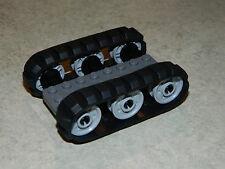 LEGO 2 x Black Rubber Caterpillar Treads + 6 Drive Wheels SMALL digger tank