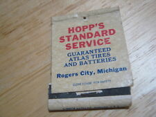 Vintage HOOP's Standard Service Rogers City Michigan Phone 8281 used Matchcover