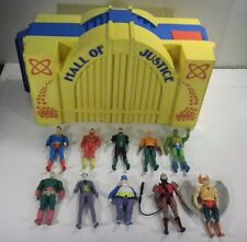vtg 80's Kenner SUPER POWERS Hall Of Justice & 10 Action Figures Lot Superman