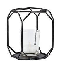 KJ COLLECTION Teelichthalter Windlicht Kerzenhalter schwarz aus Metall und Glas